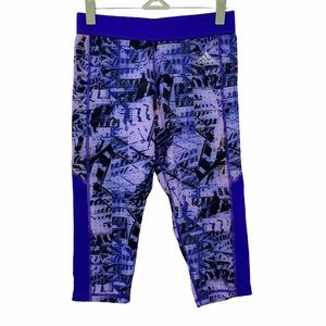 Adidas- Purple Tech Fit Climalite Crop Leggings
